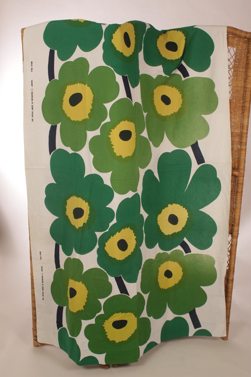 Vintage Marimekko vihreä Unikko kangas verho